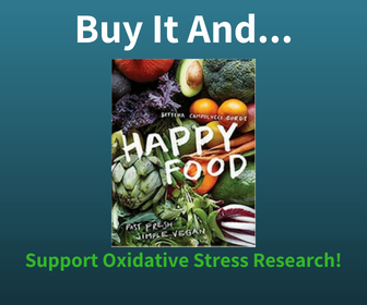 Buy the Happy Food Vegan Diet Book and Support Oxidative Stress Research